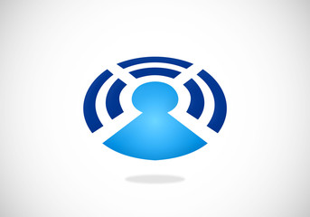 wireless bluetooth people communication vector logo