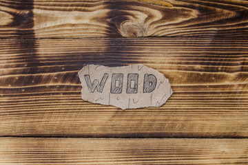 Inscription on a wooden background