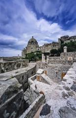 Italy, Ischia Island, view of the Aragonese Castle