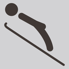 Winter sport icon - ski jumping
