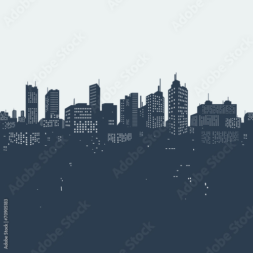 Silhouette background city - 70905183