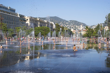 Fountains in Promenade du Paillon in Nice, France