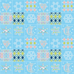 Patchwork seamless christmas pattern elements background