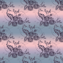 Abstract flowers retro seamless pattern on grey background
