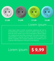 Flat minimalist vector template business design. Sockets.