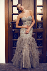 beautiful woman in luxurious dress posing beside a door