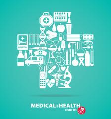 Medical set. Cross illustration.