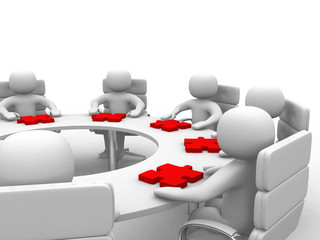 3d people - human character , person at a round table and puzzle