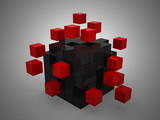 teamwork business concept with red cubes