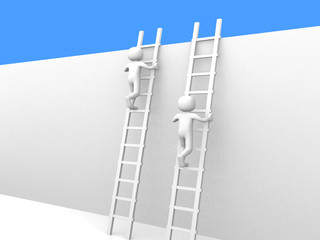 Competition and ladders. 3d rendered.
