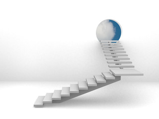 Ladder leading to sky - rendered in 3d.