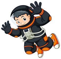 An astronaut floating