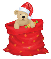 Vector Santa Claus bag with toy bear isolated.