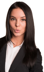 Beautiful businesswomen in suit stretched lips