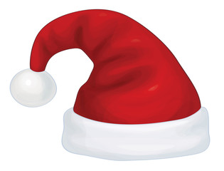 Vector  red Santa Claus hat.