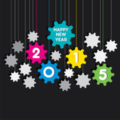 happy new year 2015 gear background vector
