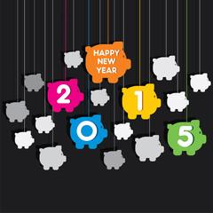 creative new year 2015 piggy bank theme background vector