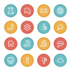 Web & internet icon set 2, color circle buttons