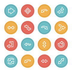 Arrows web icons, color circle buttons