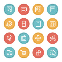 Home appliances web icons, color circle buttons