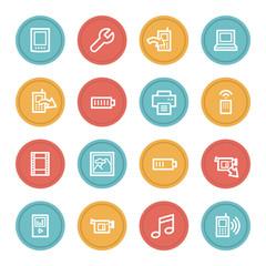 Mobile content web icons, color circle buttons