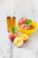 ripe peaches and peach juice
