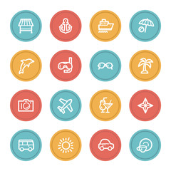 Vacation web icon set 1, color circle buttons
