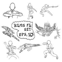 vector hand drawn set of China's kung fu, doodles