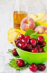 ripe cherries and peaches