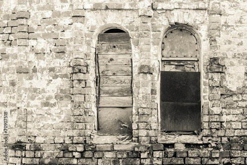 old brick wall of monochrome tone - 70907518
