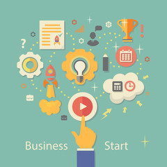 Business Startup Vector Illustration.   Gears infographics with