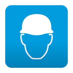 Etiqueta tipo app azul simbolo casco