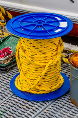 Yellow boating ropes on the docks