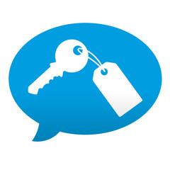 Etiqueta tipo app comentario llave con llavero