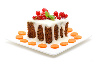 Carrot cake isolated on white