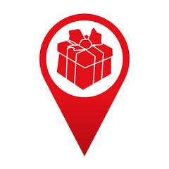 Icono localizacion paquete de regalo