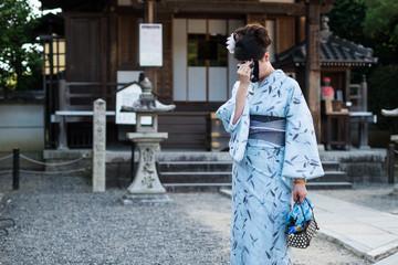 Shy girl in kimono