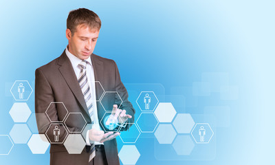 Businessman hold empty copy space. Hexagons with people icons