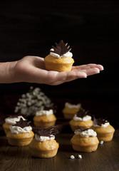 Pumpkin muffin with chocolate