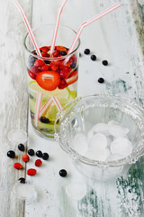 cool drink with fresh berries