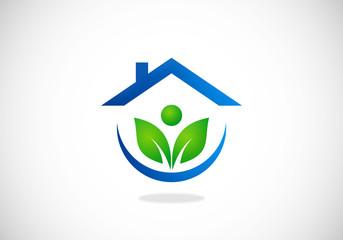 eco garden house ecology people vector logo