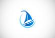 sailing boat yacht abstract vector logo
