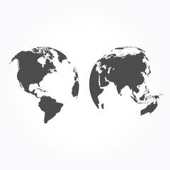 Gray globe icons