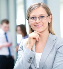 female leader and team