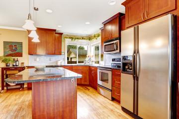 Kitchen room interior with steel refrigerator