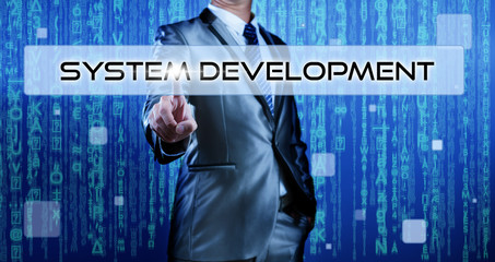 Businessman pressing on button system development