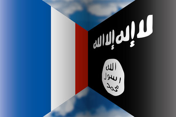 france vs isis flags