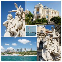 Collage of famous ukrainian Odessa city landmarks - unesco