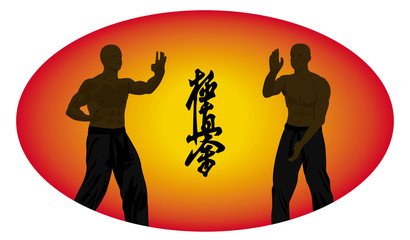 Two men show karate on an orange background.