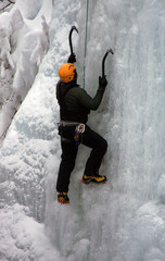Ice Climber in Ouray Ice Park, Colorado